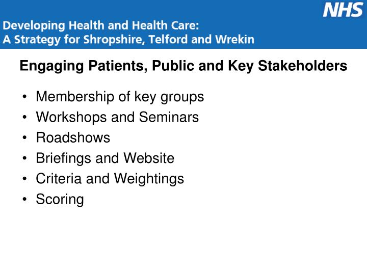 Engaging Patients, Public and Key Stakeholders
