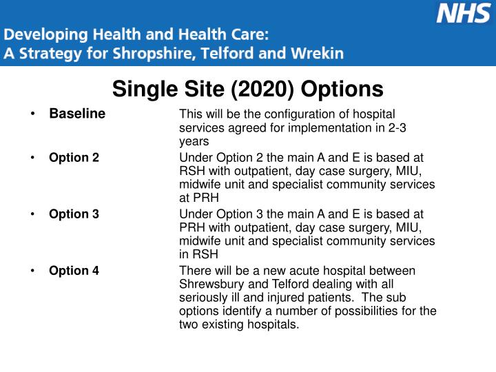 Single Site (2020) Options