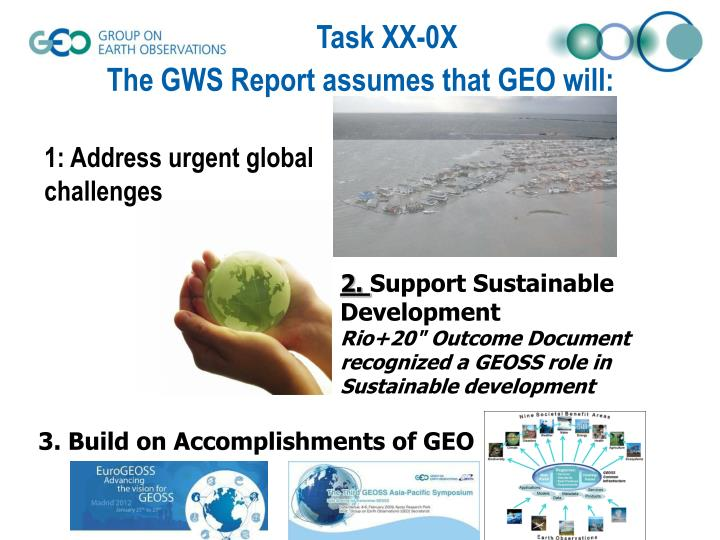 The GWS Report assumes that GEO will: