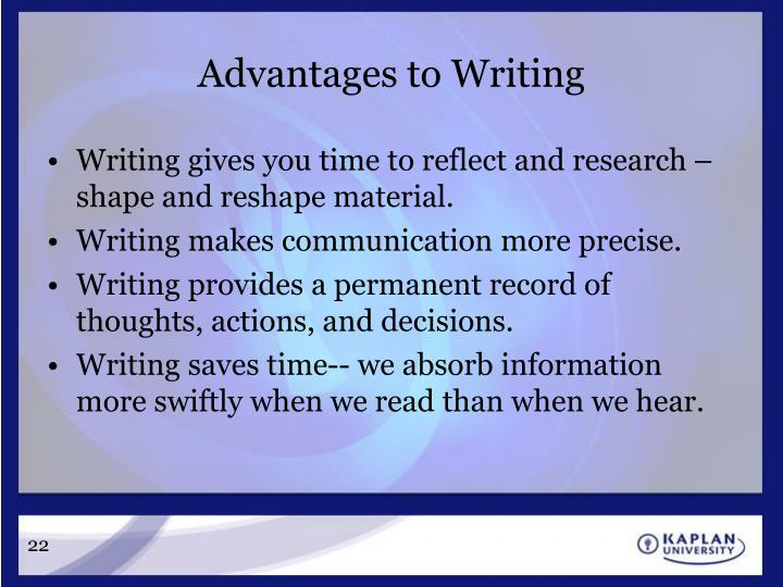 Advantages to Writing