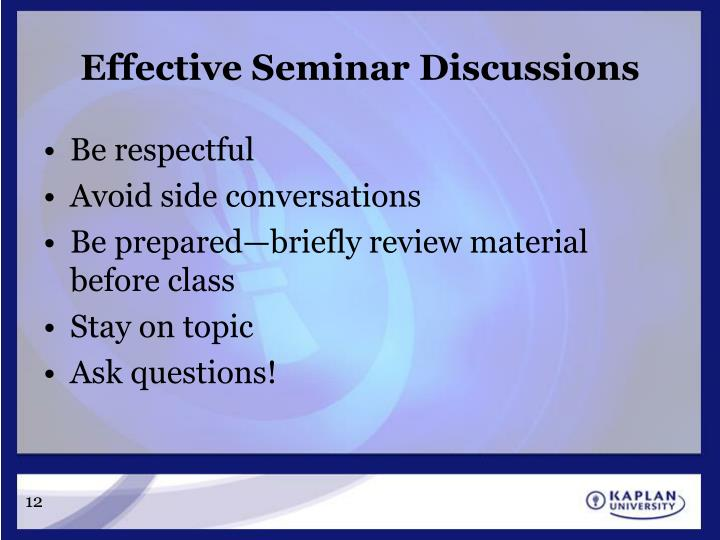 Effective Seminar Discussions