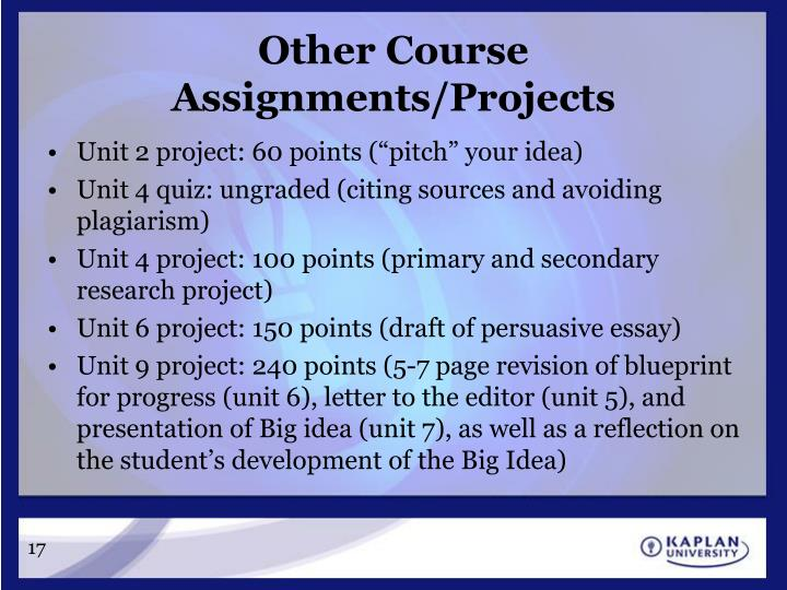 Other Course Assignments/Projects