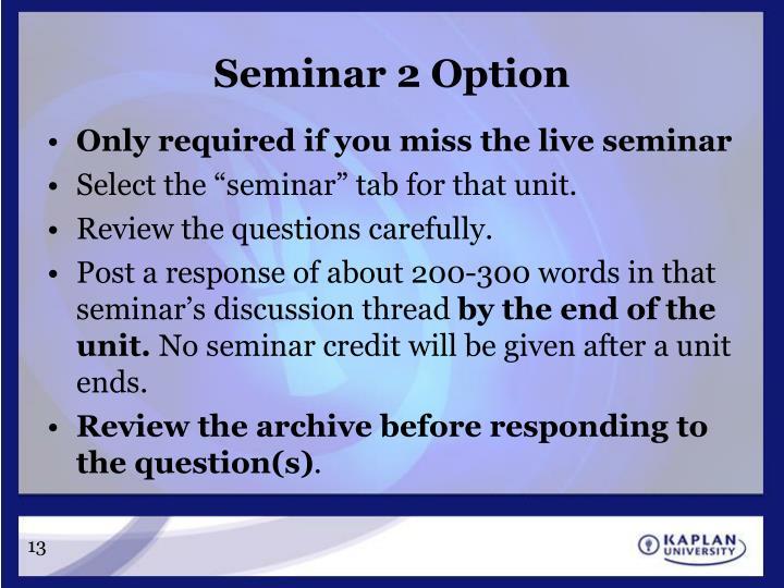 Seminar 2 Option