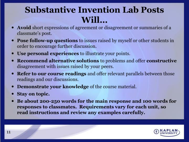 Substantive Invention Lab Posts Will…