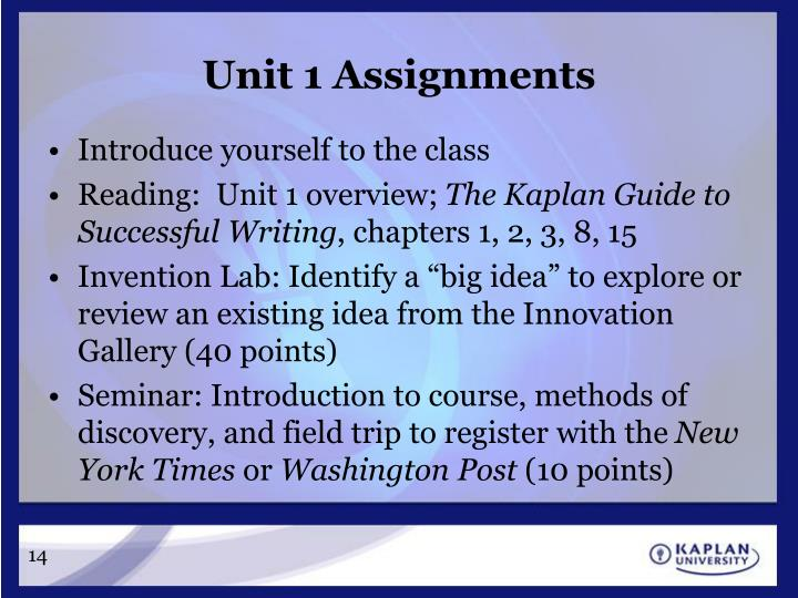 Unit 1 Assignments