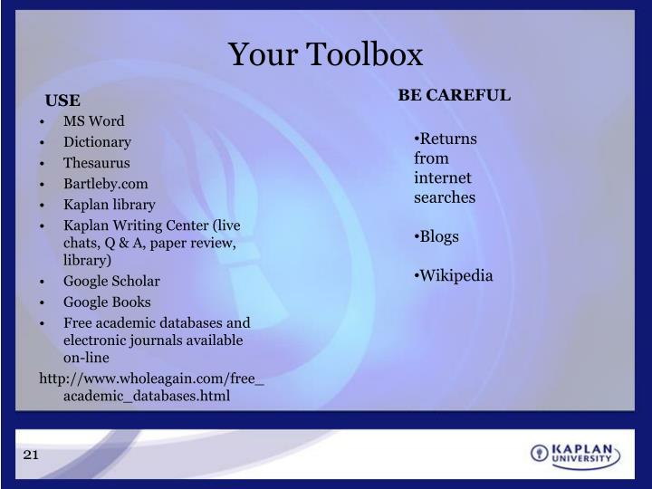 Your Toolbox