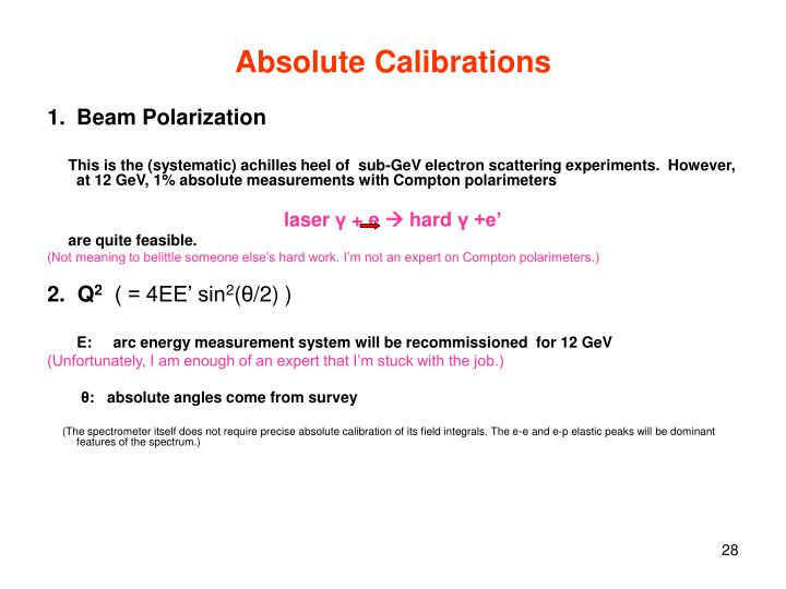 Absolute Calibrations