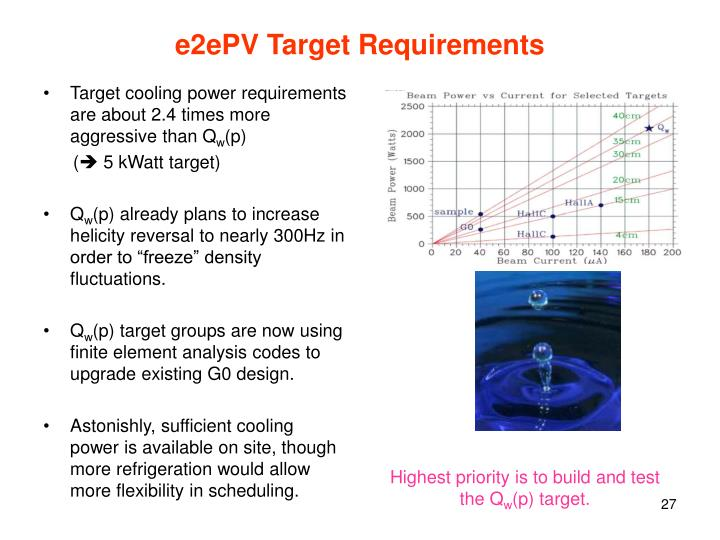 e2ePV Target Requirements