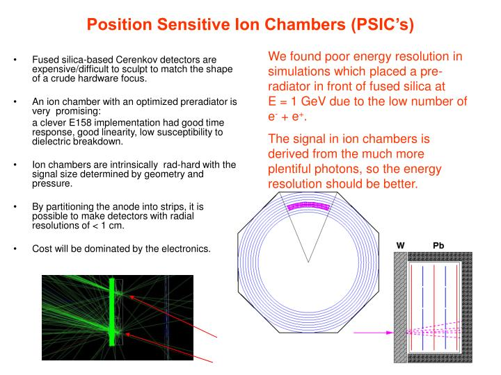 Position Sensitive Ion Chambers (PSIC's)