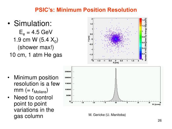PSIC's: Minimum Position Resolution