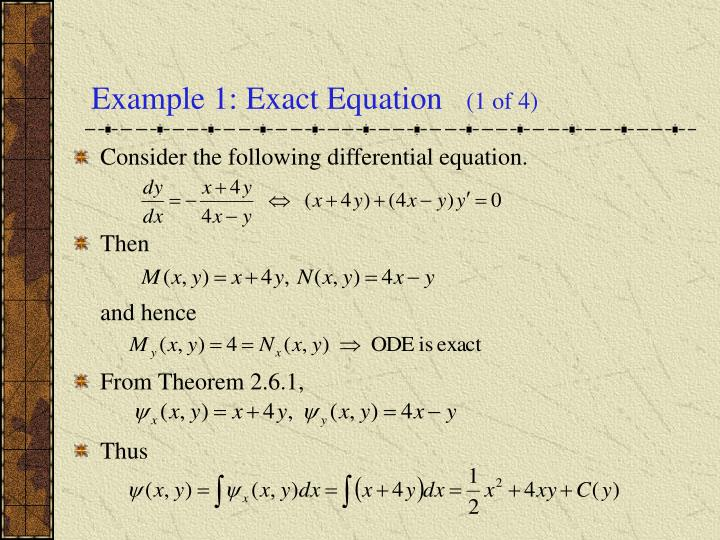 Example 1 exact equation 1 of 4