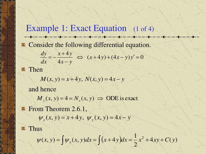Example 1: Exact Equation
