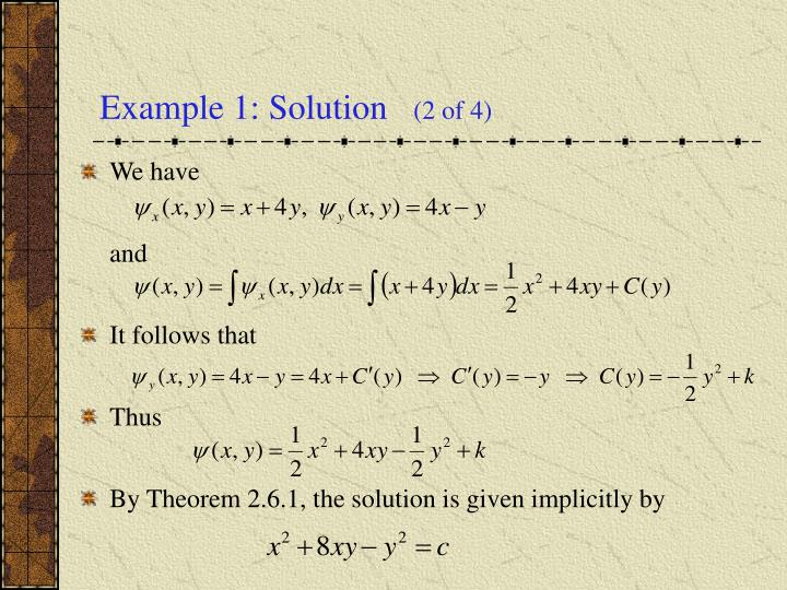 Example 1: Solution