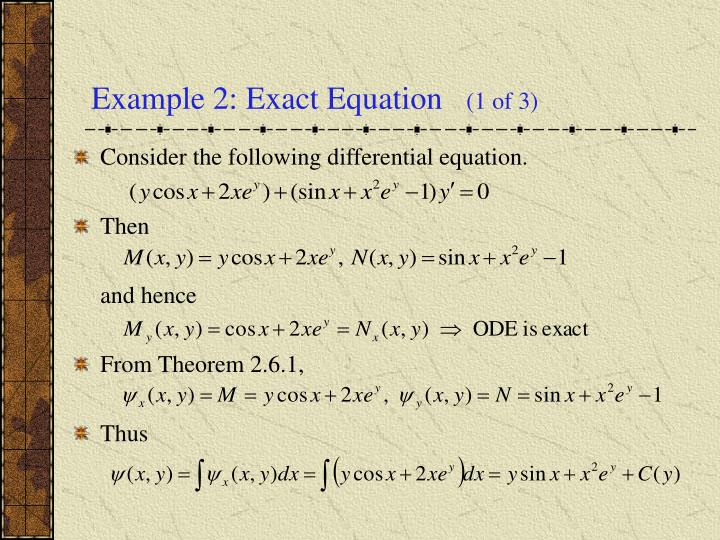 Example 2: Exact Equation