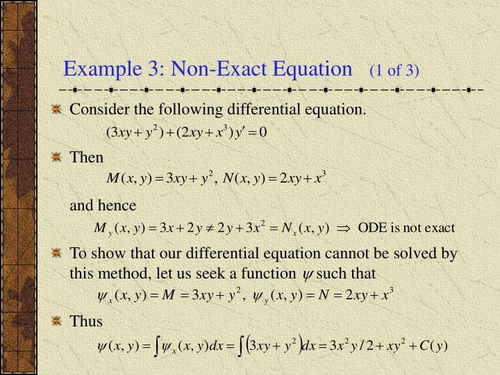 Example 3: Non-Exact Equation