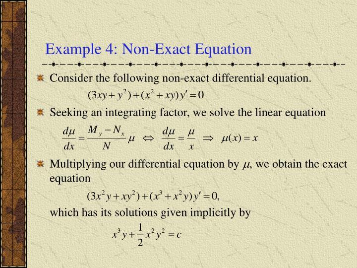 Example 4: Non-Exact Equation