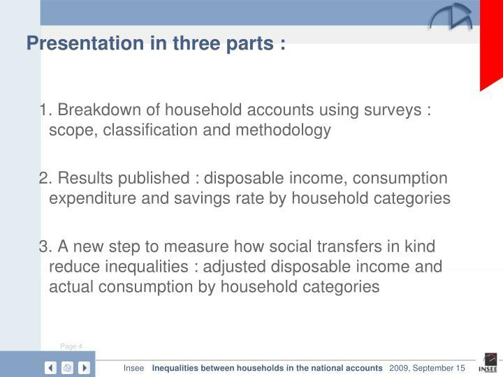 Presentation in three parts :