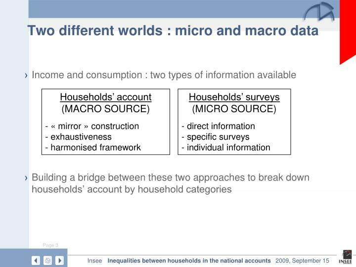 Two different worlds : micro and macro data