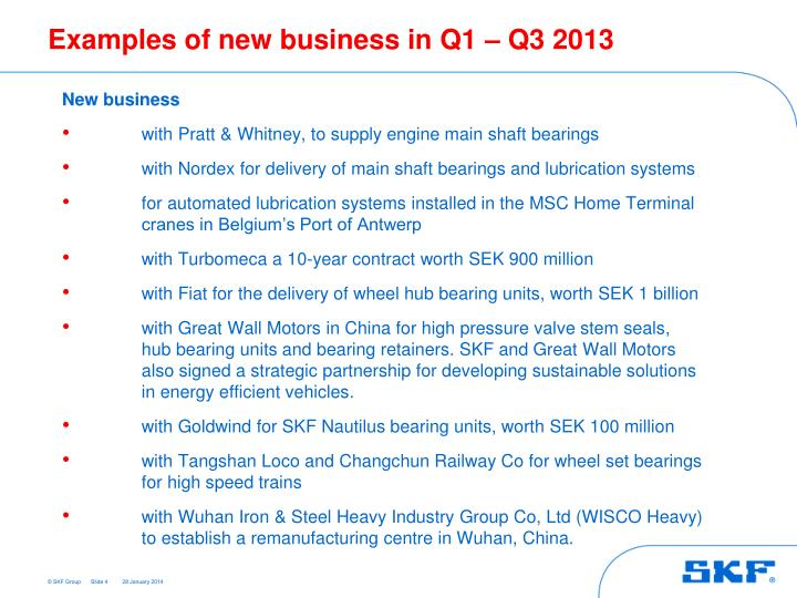 Examples of new business in Q1 – Q3 2013