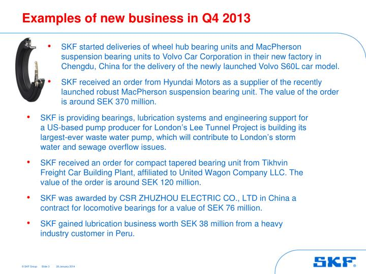 Examples of new business in Q4 2013