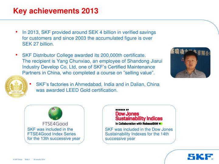 Key achievements 2013
