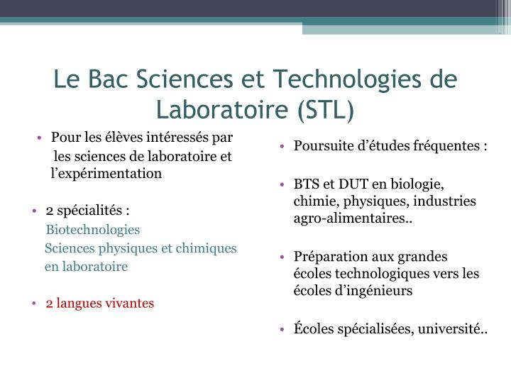 Le Bac Sciences et Technologies de Laboratoire (STL)