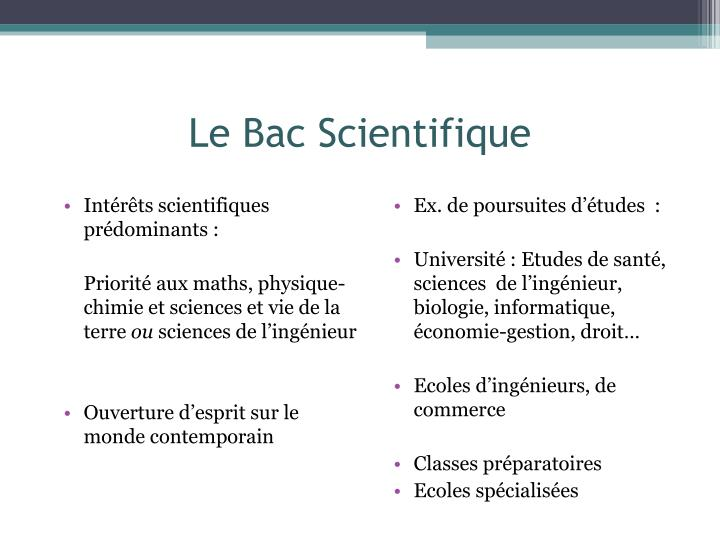 Le Bac Scientifique