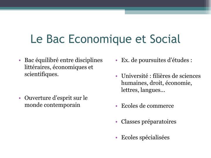 Le Bac Economique et Social