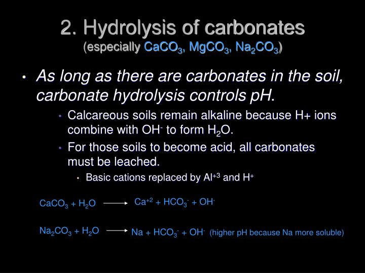 2. Hydrolysis of carbonates