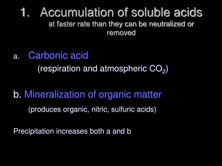 Accumulation of soluble acids