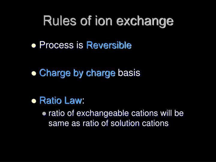 Rules of ion exchange
