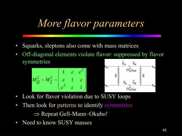 More flavor parameters