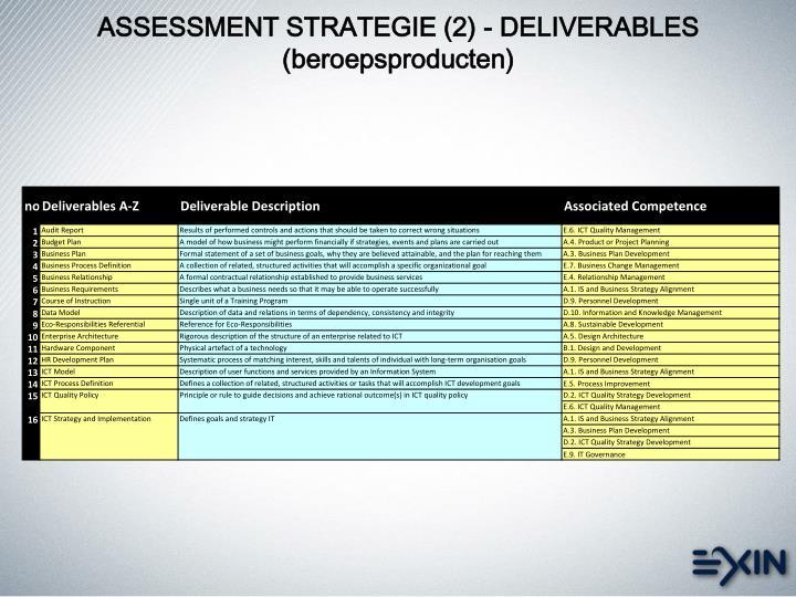 ASSESSMENT STRATEGIE (2) - DELIVERABLES