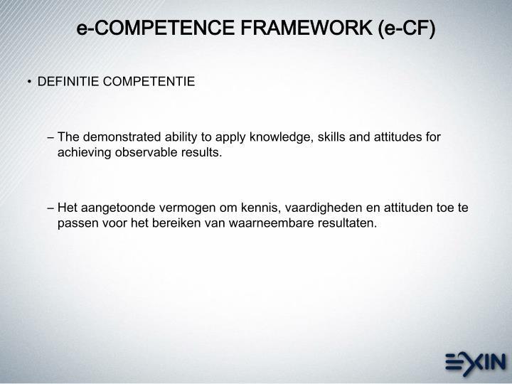 e-COMPETENCE FRAMEWORK (e-CF)