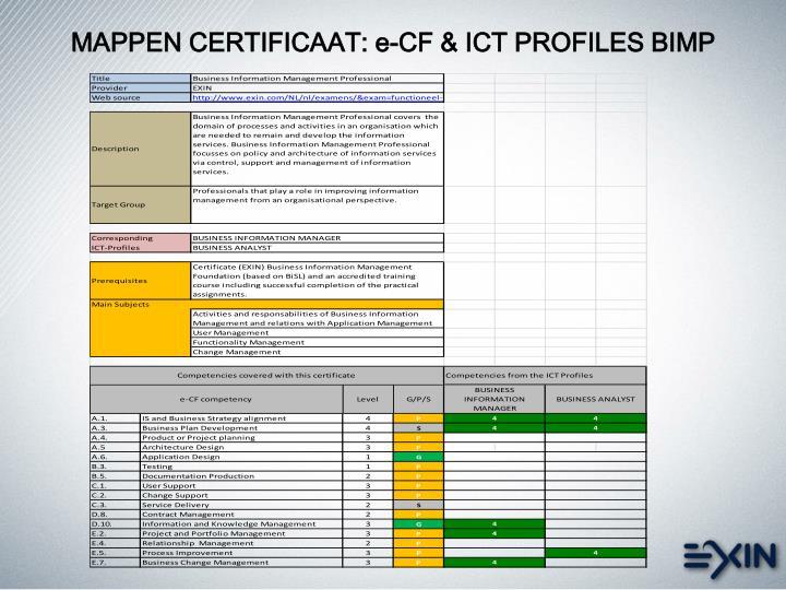 MAPPEN CERTIFICAAT: e-CF & ICT PROFILES BIMP