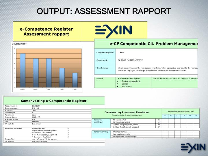 OUTPUT: ASSESSMENT RAPPORT