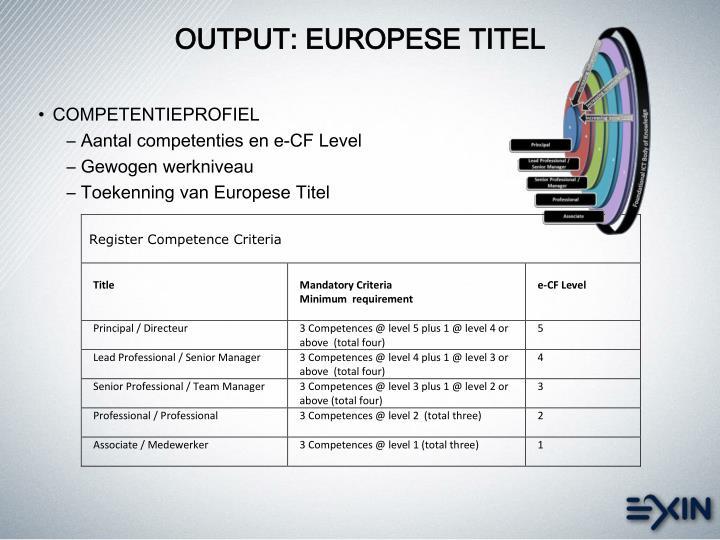 OUTPUT: EUROPESE TITEL
