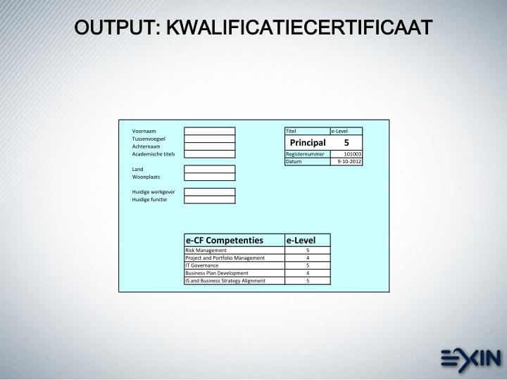 OUTPUT: KWALIFICATIECERTIFICAAT