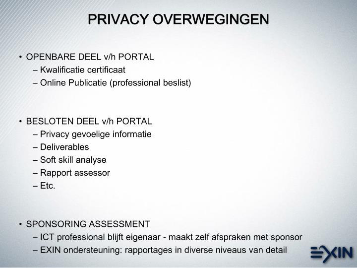 PRIVACY OVERWEGINGEN