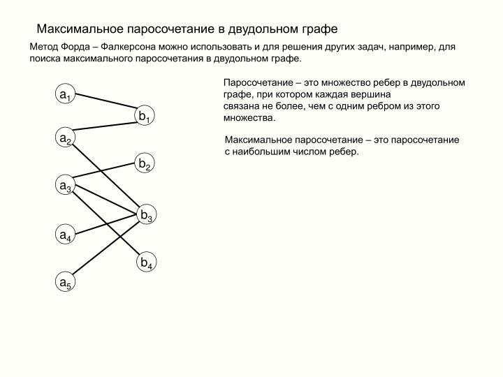 Максимальное паросочетание в двудольном графе