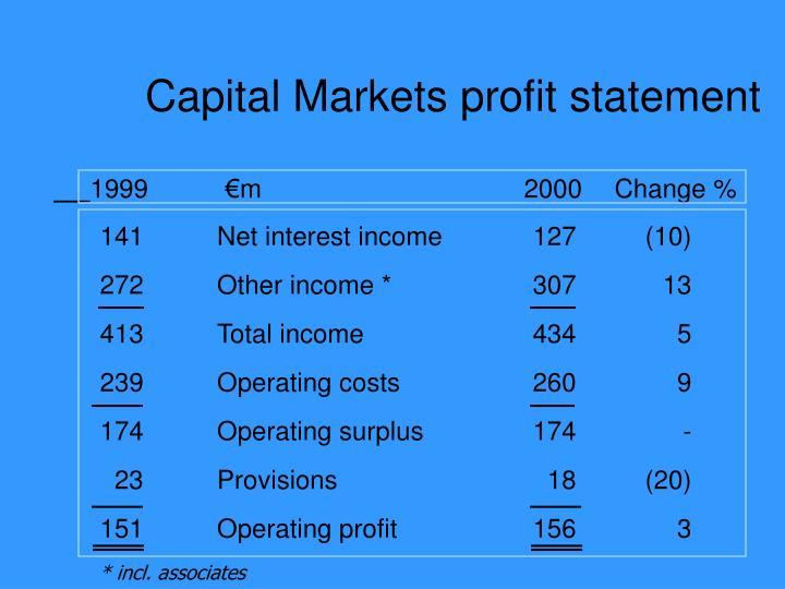 Capital Markets profit statement
