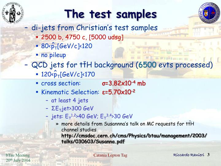 The test samples