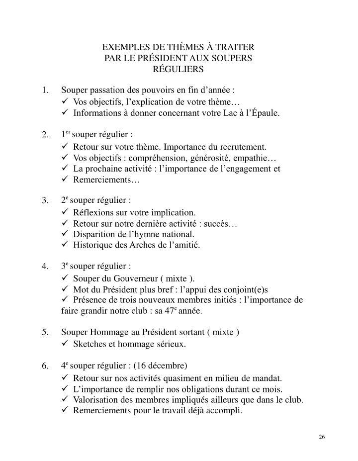 EXEMPLES DE THÈMES À TRAITER