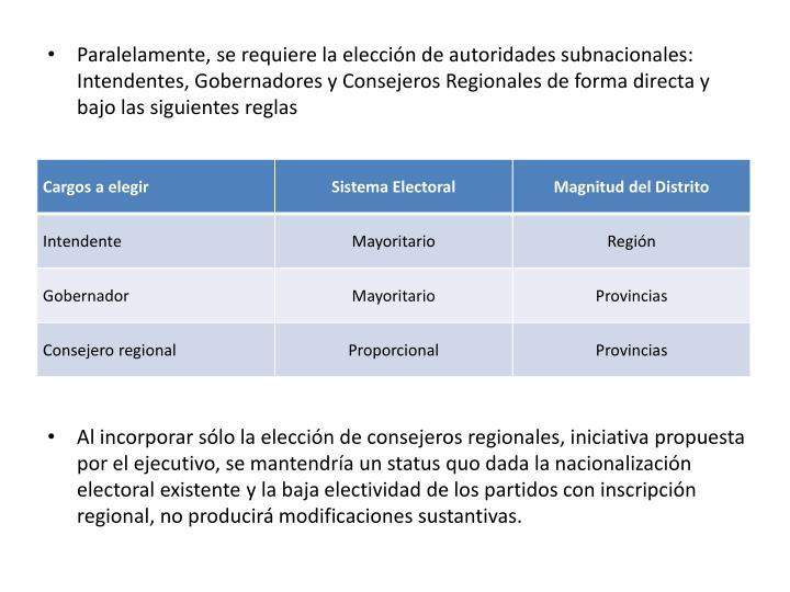 Paralelamente, se requiere la elección de autoridades subnacionales: Intendentes, Gobernadores y Consejeros Regionales de forma directa y bajo las siguientes reglas