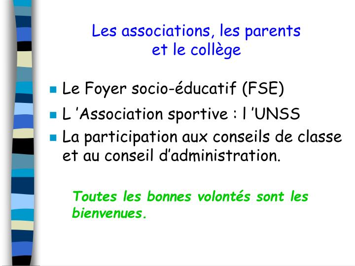 Les associations, les parents