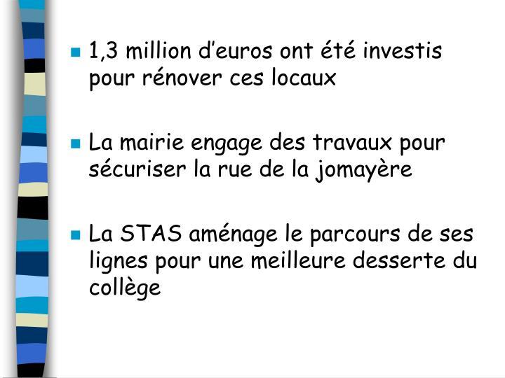 1,3 million d'euros ont été investis pour rénover ces locaux