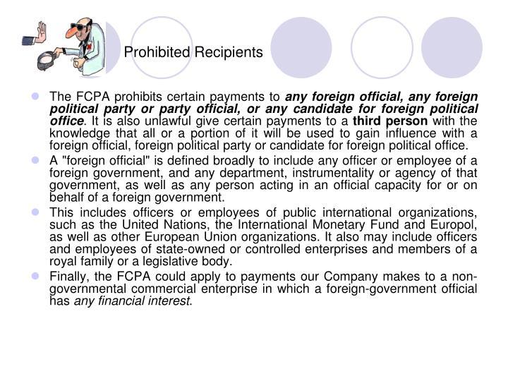 Prohibited Recipients