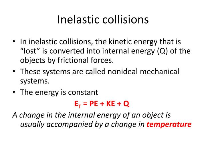 Inelastic collisions