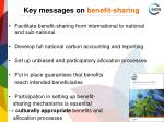 key messages on benefit sharing