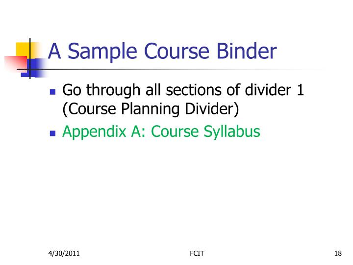 A Sample Course Binder